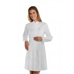 Camice da lavoro donna bianco Catalina in tessuto elasticizzato e bottoni a pressione - Isacco