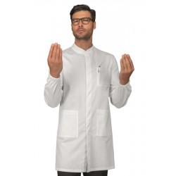 Camice da lavoro uomo Dover bianco con elastico ai polsi e bottoni a pressione in tessuto elasticizzato - Isacco