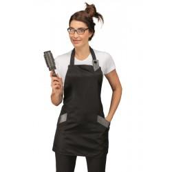 Grembiule da lavoro donna Sherry nero in tessuto superdry antimacchia per estetiste e parrucchiere - Isacco