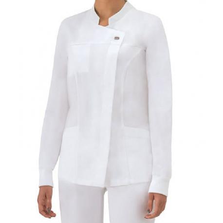 Casacca da lavoro donna Giada con manica lunga e bottoni a pressione per infermiere - assistenti - Giblor's