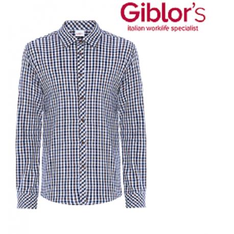 Camicia da lavoro uomo Boris quadretti marrone in cotone per camerieri-baristi - Giblor's