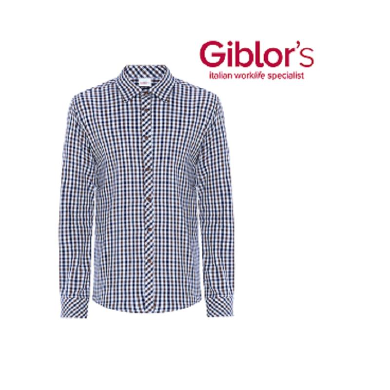 check out bd462 21a0d Camicia da lavoro uomo Boris quadretti marrone in cotone per  camerieri-baristi - Giblor's - SICURITA.it