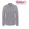 Camicia da lavoro donna Lilly quadretti marrone in cotone per cameriere - Giblor's
