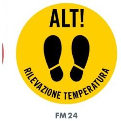 Cartello/disco antiscivolo alt-rilevazione temperatura per pavimenti- 50cm - emergenza Coronavirus