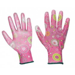 Guanto da lavoro donna fantasia rosa in nylon spalmato PU per giardinaggio - conf da 12 -Logica