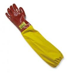 Guanto da lavoro antiacido e antiabrasione in pvc rosso con manichetta da 35cm - conf da 10 - Logica