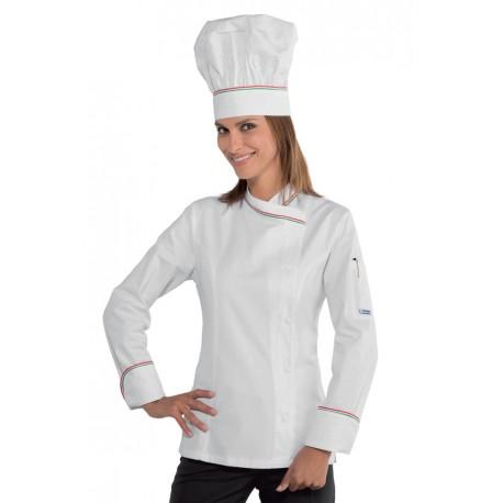 Giacca cuoco Lady Snaps manica lunga con bottoni a pressione con inserti tricolore- Isacco
