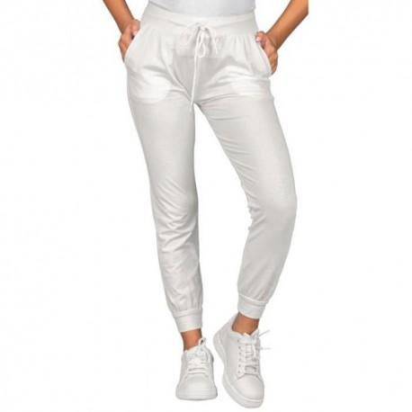 Pantalone da lavoro unisex Olimpia in Jersey elasticizzato nero o bainco per settore estetico/sanitario - Isacco