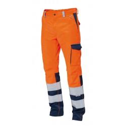 Pantalone da lavoro unisex advance bicolore arancio blu alta visibilità - Siggi