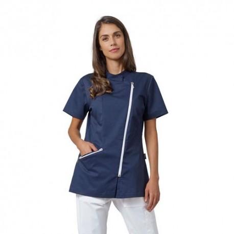 Casacca da lavoro donna Kate con manica corta e cerniera per settore sanitario - Siggi