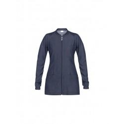 Casacca da lavoro donna Emily in jeans con manica lunga e cerniera per estetiste/parrucchiere - Giblor's