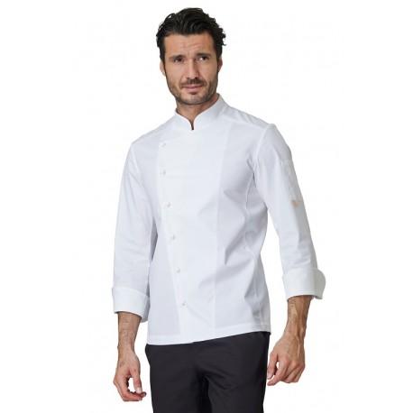 Giacca da cuoco Gabriel Bianca con tessuto elasticizzato, manica lunga - Siggi Horeca