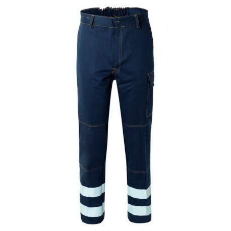Pantalone da lavoro uomo SerioPlus+ blu con bande rifrangenti per operai - Rossini Tech