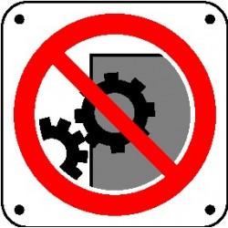 Cartello non rimuovere le protezioni e i dispositivi di sicurezza