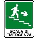 Cartello scala di emergenza verso basso destra