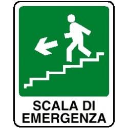 Cartello scala di emergenza verso basso sinistra
