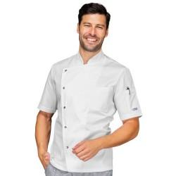 Giacca cuoco uomo Belfast manica corta bianco/nero - Isacco