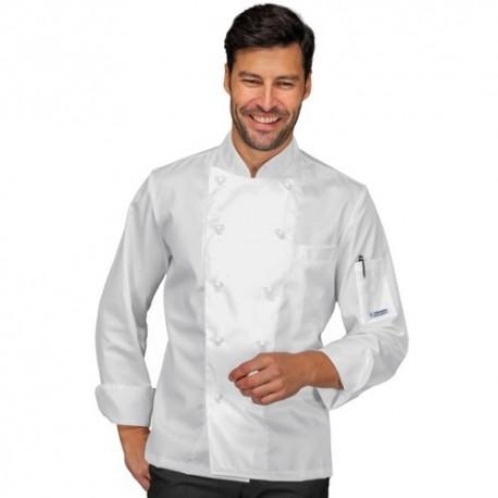 Giacca cuoco uomo Alabama manica lunga bianco/nero - Isacco