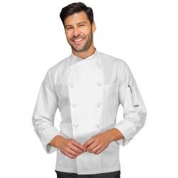 Giacca cuoco Panama Slim 100% cotone bianca manica lunga - Isacco