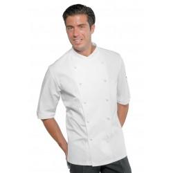 Giacca cuoco Panama Slim 100% cotone bianca manica corta - Isacco