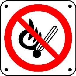 Cartello vietato l'uso di fiamme libere