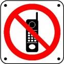 Cartello vietato l'uso di telefoni cellulari